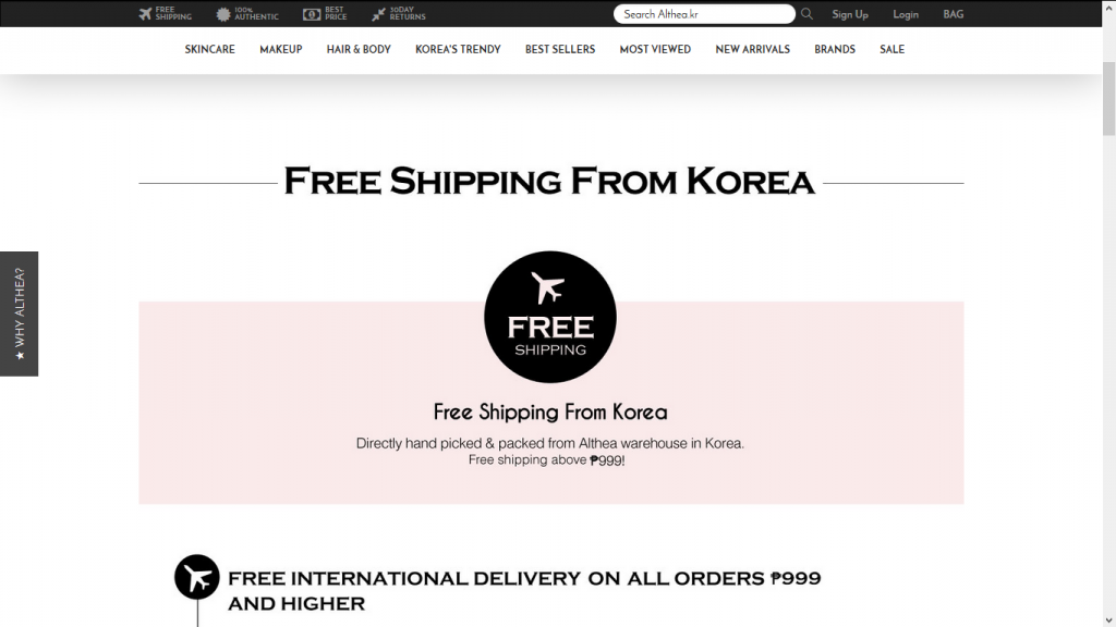 althea free shipping